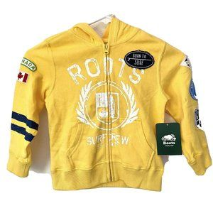 NWT Roots Kids Boys Hoodie 4T Yellow BORN TO SURF